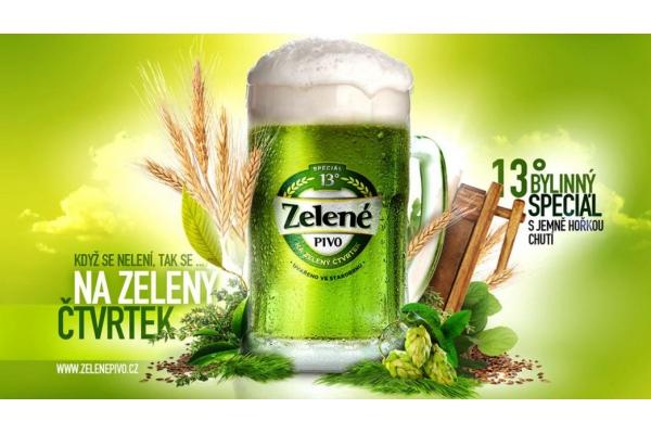 Zelené pivo z pivovaru Starobrno.